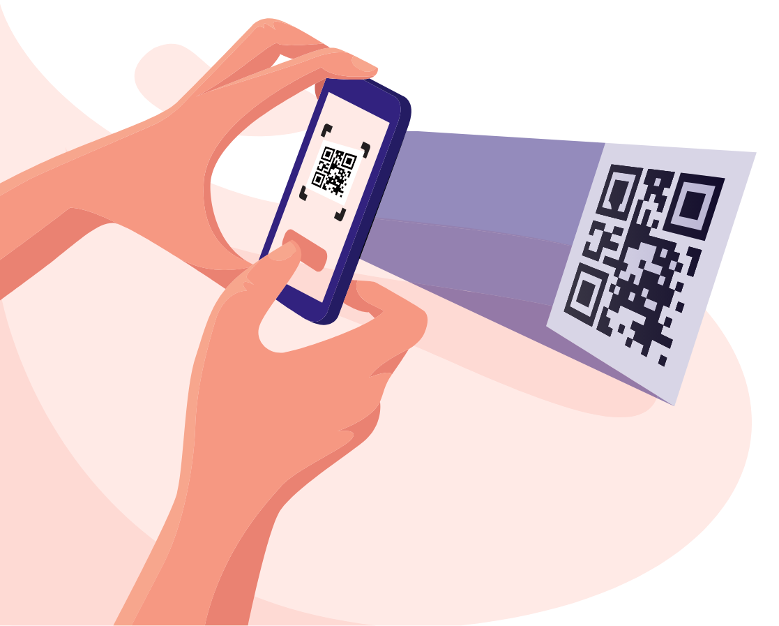 Hand holding phone scanning QR code